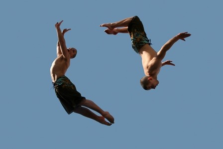 two boys in air